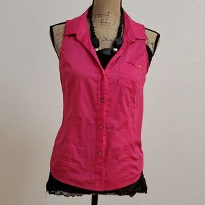 GUESS Pink Button Down Top